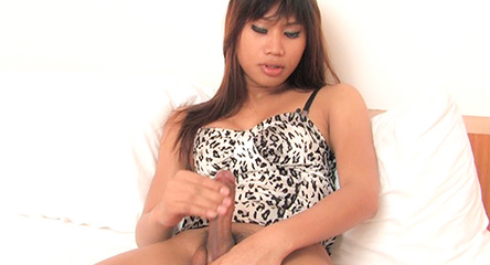 Sexy Asian shemale pumps her throbbing shemale dick cum spurting from her tranny penis from Ladyboy Wank